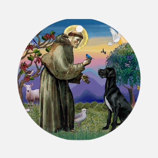 St Francis / Great Dane (blk) Ornament (Round)