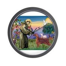 St Francis / Irish Setter Wall Clock