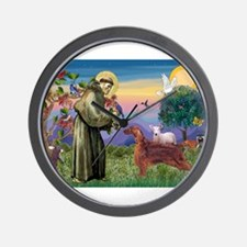 St Francis / Irish Setter Wall Clock