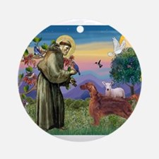 St Francis / Irish Setter Ornament (Round)