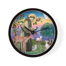 St Francis / Italian Greyhoun Wall Clock