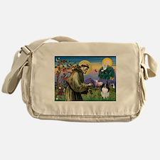 St Francis / Japanese Chin Messenger Bag
