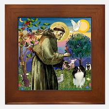 St Francis / Japanese Chin Framed Tile