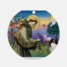 St Francis / Japanese Chin Ornament (Round)