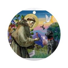 St Francis / Lab (black) Ornament (Round)