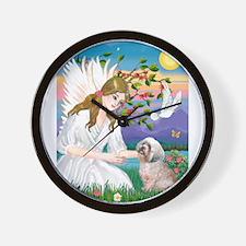 Angel Love / Lhasa Apso Wall Clock
