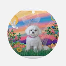Guardian Angel / Maltese pup Ornament (Round)