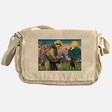 St. Francis & Min Pin Messenger Bag