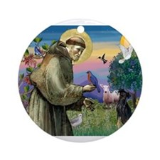St. Francis & Min Pin Ornament (Round)
