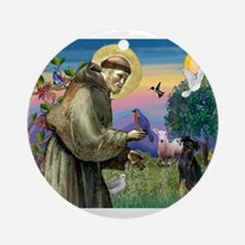St. Francis & Min Pin Ornament (Round)