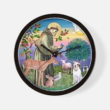 St Francis / Pit Bull Wall Clock