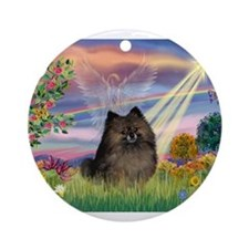 Cloud Angel /Pomeranian (brin Ornament (Round)