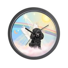 Angel/Poodle(blk Toy/Min) Wall Clock