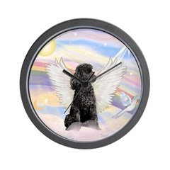 Angel/Poodle (blk Toy/Min) Wall Clock