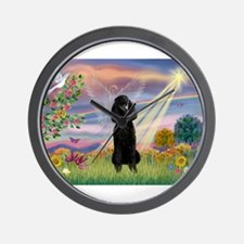 Cloud Angel /Poodle Std (blk) Wall Clock