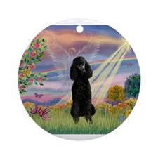 Cloud Angel /Poodle Std (blk) Ornament (Round)