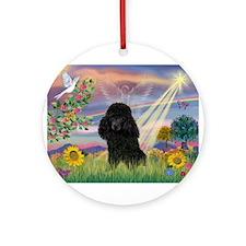 Cloud Angel / Poodle (blk#2) Ornament (Round)
