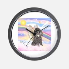 Silver Poodle Angel Wall Clock