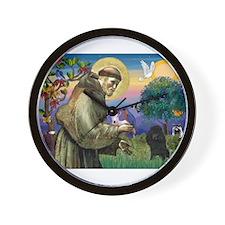 St Francis / Poodle(blk min) Wall Clock
