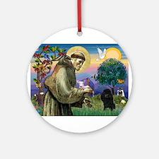 St Francis / Poodle(blk min) Ornament (Round)