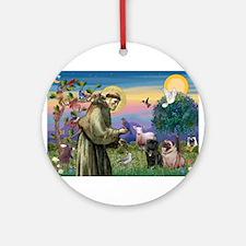 St. Francis & Pug Pair Ornament (Round)
