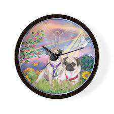 Cloud Angel - 2 Pugs Wall Clock
