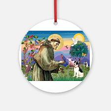 St Francis / Rat Terrier Ornament (Round)