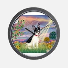 Cloud Angel / Rat Terrier Wall Clock
