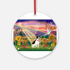 Autumn Angel /Rat Terrier Ornament (Round)