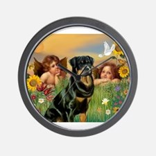 Two Angels & Rottie Wall Clock