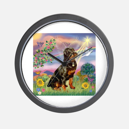 Cloud Angel / Rottweiler Wall Clock