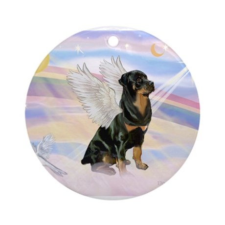 Clouds / Rottie Ornament (Round)