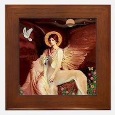 Seated Angel / Saluki Framed Tile