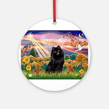 Autumn Angel / Schipperke Ornament (Round)
