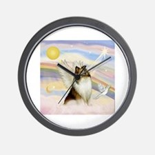 Sable Sheltie Angel Wall Clock
