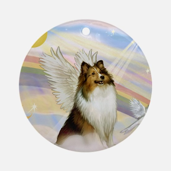 Sable Sheltie Angel Ornament (Round)