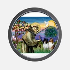 St Francis / Sheltie pair Wall Clock