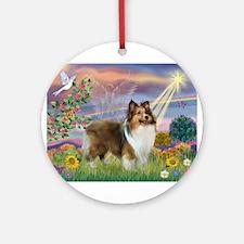 Cloud Angel & Sheltie Ornament (Round)