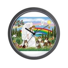 Angel & Five Shelties Wall Clock