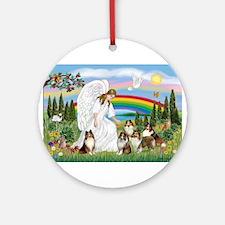 Angel & Five Shelties Ornament (Round)
