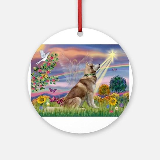 Cloud Angel & Husky Ornament (Round)