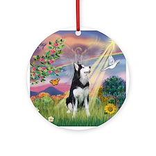 Cloud Angel / Siberian Husky Ornament (Round)