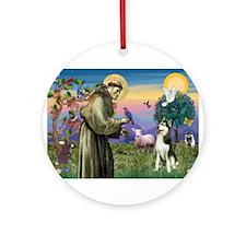 St Francis & Husky Ornament (Round)