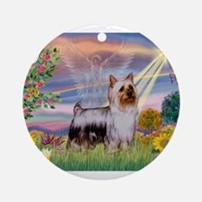 Cloud Angel / Silky Terrier Ornament (Round)