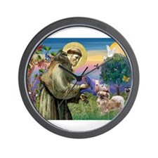 St Francis / Tibetan Spaniel Wall Clock