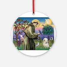 St Francis /Tibetan Terrier Ornament (Round)