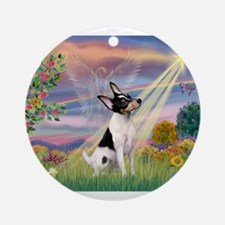 Cloud Angel /Toy Fox Terrier Ornament (Round)