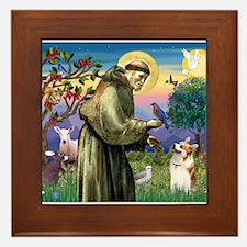 St Francis / Welsh Corgi (p) Framed Tile