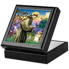 St Francis / Welsh Corgi (p) Keepsake Box