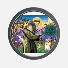 St Francis / Welsh Corgi (p) Wall Clock